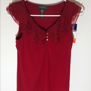 Ralph Lauren red blouse size petite small
